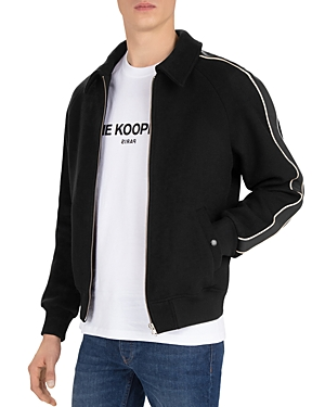 The Kooples Orione Leather Trimmed Wool-Blend Bomber Jacket