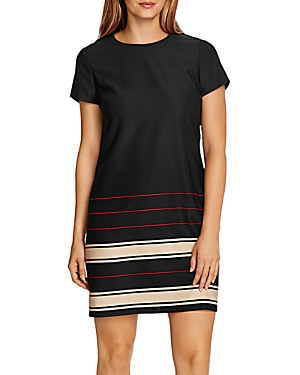 Vince Camuto Linear Planes Short Sleeve Shift Dress-Women