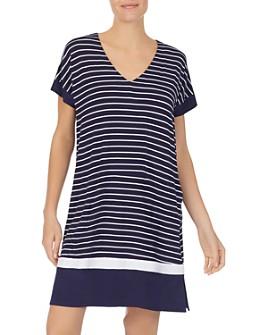 Donna Karan - Striped Short Sleepshirt