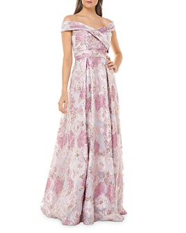 Carmen Marc Valvo Infusion - Off-the-Shoulder Metallic Floral Gown