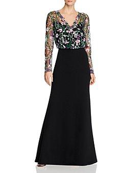 Tadashi Shoji - Embroidered-Mesh Blouson Gown - 100% Exclusive