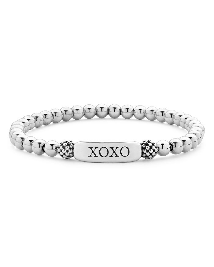 LAGOS - Sterling Silver Signature Caviar XOXO Station Bracelet