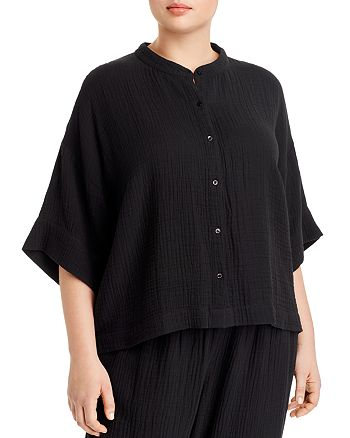 Eileen Fisher Plus - Organic Cotton Banded-Collar Shirt