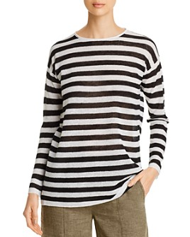 Eileen Fisher Petites - Organic Linen-Blend Striped Tunic - 100% Exclusive
