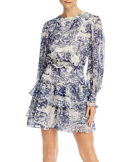AQUA - Toile Print Ruffled Long Sleeve Dress - 100% Exclusive