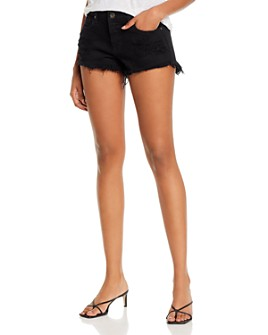 Pistola - Gigi Low-Rise Cutoff Denim Shorts in Black in Oxford