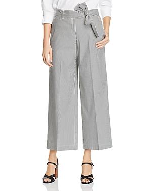 Lafayette 148 New York Striped Wide-Leg Cropped Pants-Women