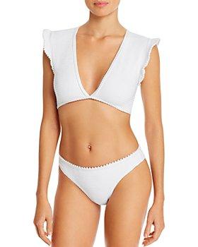 Shoshanna - Textured Deep-V Crop Top Bikini Top & Classic Bikini Bottom