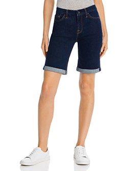 7 For All Mankind - Rolled Denim Bermuda Shorts in Haven