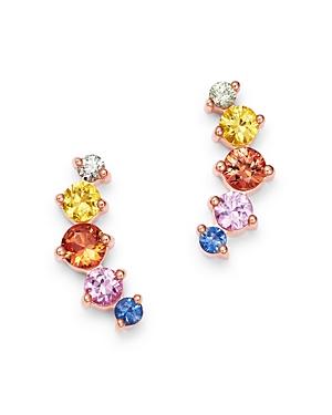 Bloomingdale's Sapphire Rainbow Stud Earrings in 14K Rose Gold, 0.86 ct. t.w. - 100% Exclusive