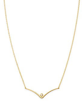 "Moon & Meadow - Diamond Curbed V Station Necklace in 14K Yellow Gold, 18"" - 100% Exclusive"