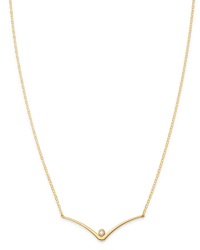 """Moon & Meadow - Diamond Curbed V Station Necklace in 14K Yellow Gold, 18"""" - 100% Exclusive"""