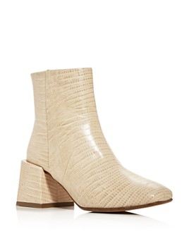 LoQ - Women's Lazaro Lizard-Embossed Square-Toe Booties