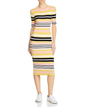 Frame Baja Striped Rib-Knit Midi Dress-Women