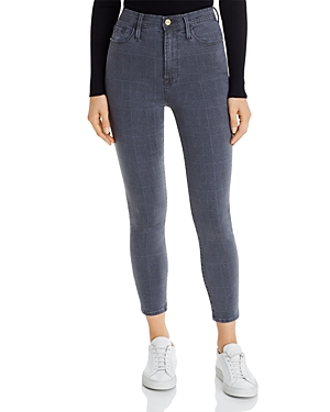 Frame Ali High-Rise Cigarette Jeans in Washed Gray Plaid-Women