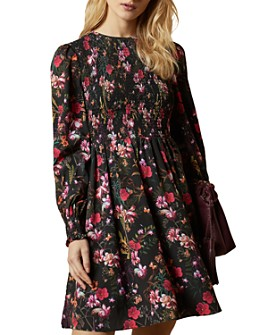 Ted Baker - Smocked Floral-Print Mini Dress