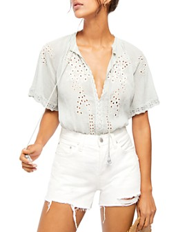 Free People - Dahlia Eyelet Embroidered Blouse