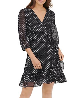 Calvin Klein - Dotted Faux-Wrap Dress