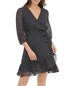 Calvin Klein - Dotted Faux-Wrap Dress