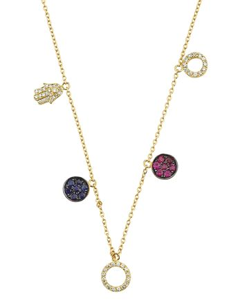 OWN YOUR STORY - 14K Yellow Gold Flow Sapphire, Ruby & Diamond Multi-Charm Pendant Necklace