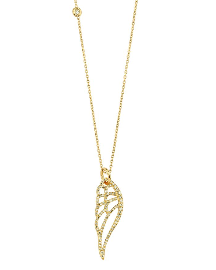 OWN YOUR STORY - 14K Yellow Gold Nature Diamond Wing Pendant Necklace