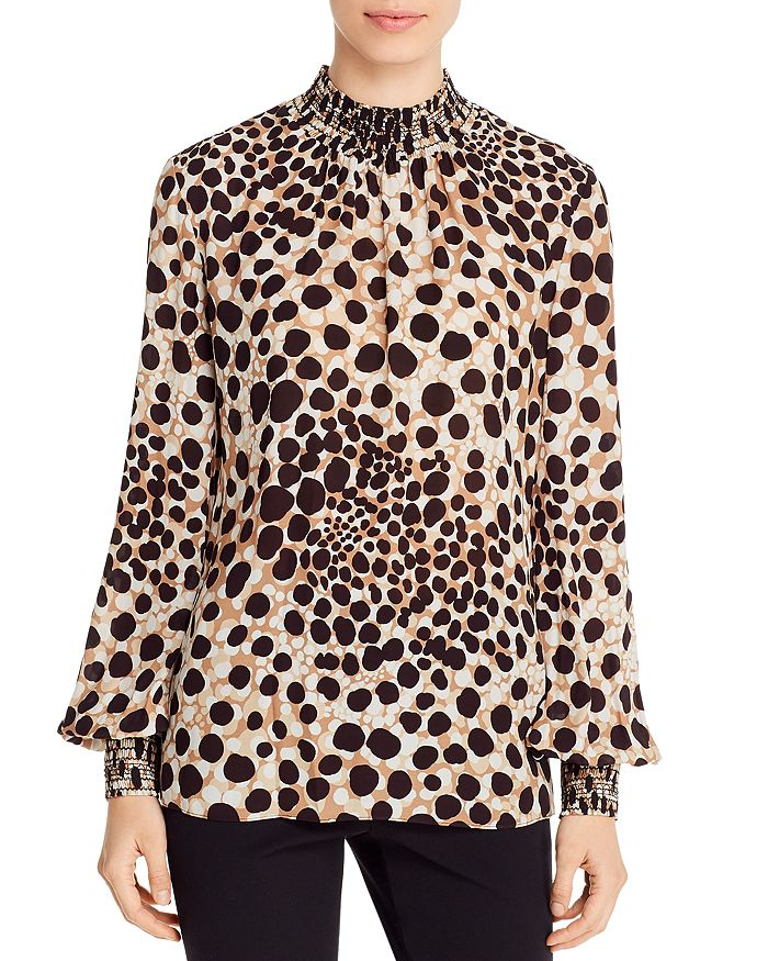Elie Tahari - Camden Animal-Print Smocked Top