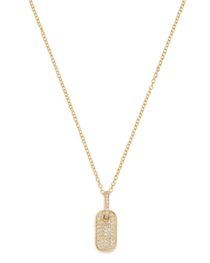 Bloomingdale's Diamond Dog Tag Pendant Necklace in 14K Yellow Gold - 100% Exclusive    Bloomingdale's