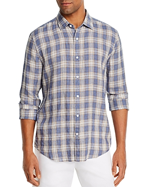 The Men's Store at Bloomingdale's Linen Tri-Color Plaid Classic Fit Shirt - 100% Exclusive