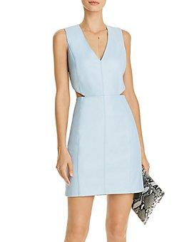 AQUA - Faux-Leather Side-Cutout Dress - 100% Exclusive