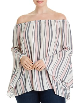 Single Thread Plus - Striped Off-the-Shoulder Top