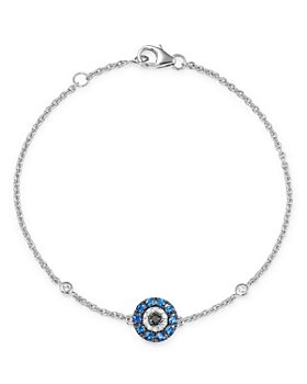 Bloomingdale's - Blue Sapphire & Black & White Diamond Evil Eye Bracelet in 14K White Gold - 100% Exclusive