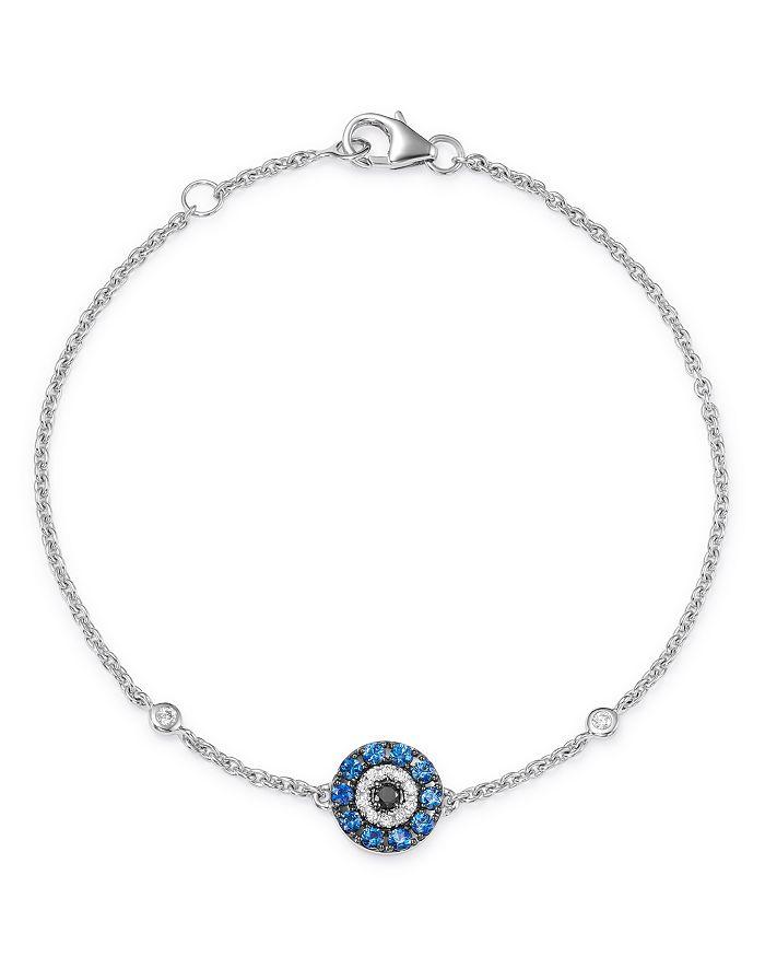 Bloomingdale's - Blue Sapphire & Black & White Diamond Evil Eye Bracelet in 14K White Gold - 100% Exclusive
