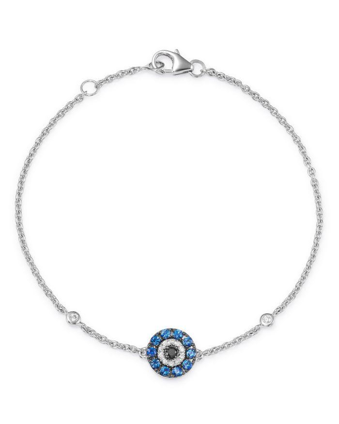 Bloomingdale's Blue Sapphire & Black & White Diamond Evil Eye Bracelet in 14K White Gold - 100% Exclusive  | Bloomingdale's