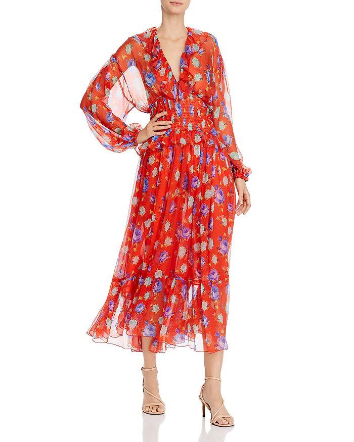 MSGM - Abito Silk Printed Maxi Dress