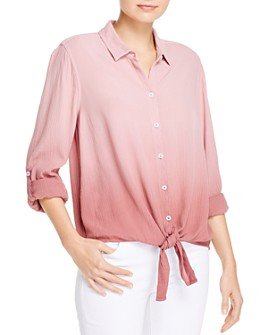 BeachLunchLounge - Yumi Dip-Dyed Crinkled Tie-Front Shirt