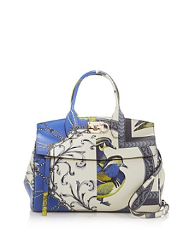 Salvatore Ferragamo - The Studio Elisabetta Foulard Print Leather Satchel