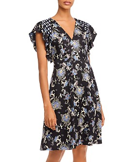 Rebecca Taylor - Floral Paisley Print V-Neck Dress