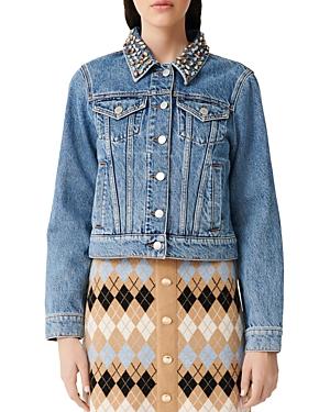 Maje Bianca Embellished Denim Jacket