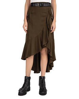 The Kooples - Belted High-Low Midi Skirt