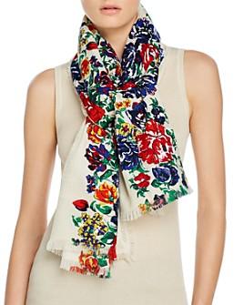 Tory Burch - Women's Tea Rose Logo Jacquard Wool & Silk Oblong Scarf