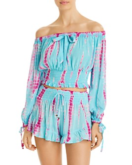 Surf Gypsy - Tie-Dyed Off-The-Shoulder Top & Tie-Dyed Ruffled Shorts