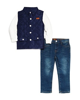 7 For All Mankind - Boys' 3-Piece Vest, Tee and Jeans Set - Little Kid