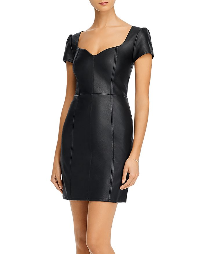 AQUA - Faux-Leather Mini Dress