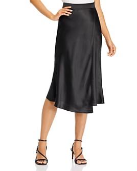 AQUA - Faux Wrap Satin Midi Skirt