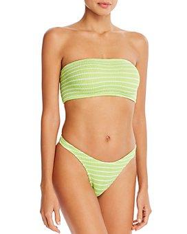 bond-eye - The Seeker Striped Cutout-Back Bandeau Bikini Top & The Scene Bikini Bottom