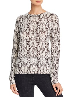 Minnie Rose - Snakeskin-Print Cashmere Sweater
