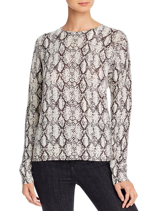 Minnie Rose - Snakeskin-Print Cashmere Sweater