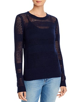 Minnie Rose - Open-Knit Striped Cashmere Sweater