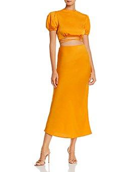 WAYF - Kati Cropped Tie-Back Top & Jaden Bias Midi Skirt