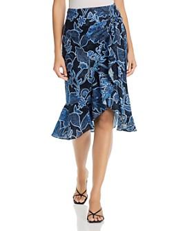 Parker - Drew Cotton Faux-Wrap Midi Skirt